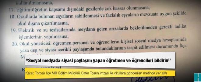 Torbalı Milli Eğitim Müdürlüğü: Sosyal medyada siyasi paylaşım yapan öğretmen ve öğrencileri bildirin